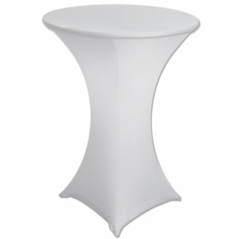 Aluminium Bar Table with White Stretch Cover (Hire)