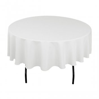 White Linen Tablecloth for Round Tables