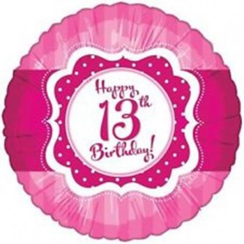 Perfectly Pink Happy 13th Birthday Foil Balloon