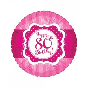 Perfectly Pink Happy 80th Birthday Foil Balloon