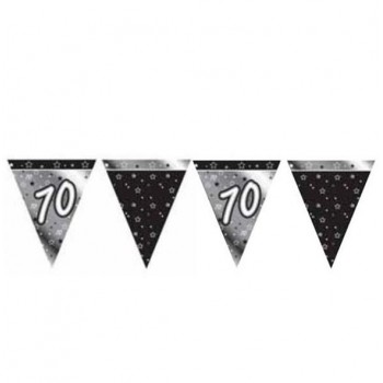 70th Bunting Black and Silver