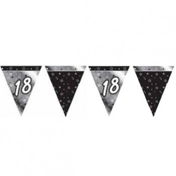 18th Bunting Black and Silver