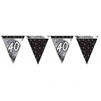 40th Bunting Black and Silver