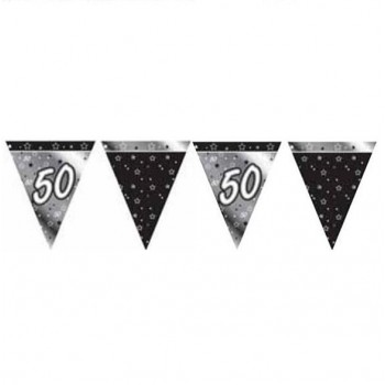 50th Bunting Black and Silver