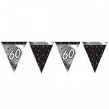 60th Bunting Black and Silver