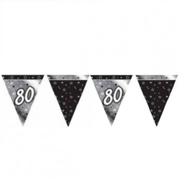 80th Bunting Black and Silver